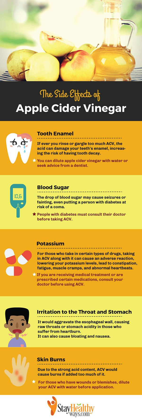 side effects of apple cider vinegar infographic