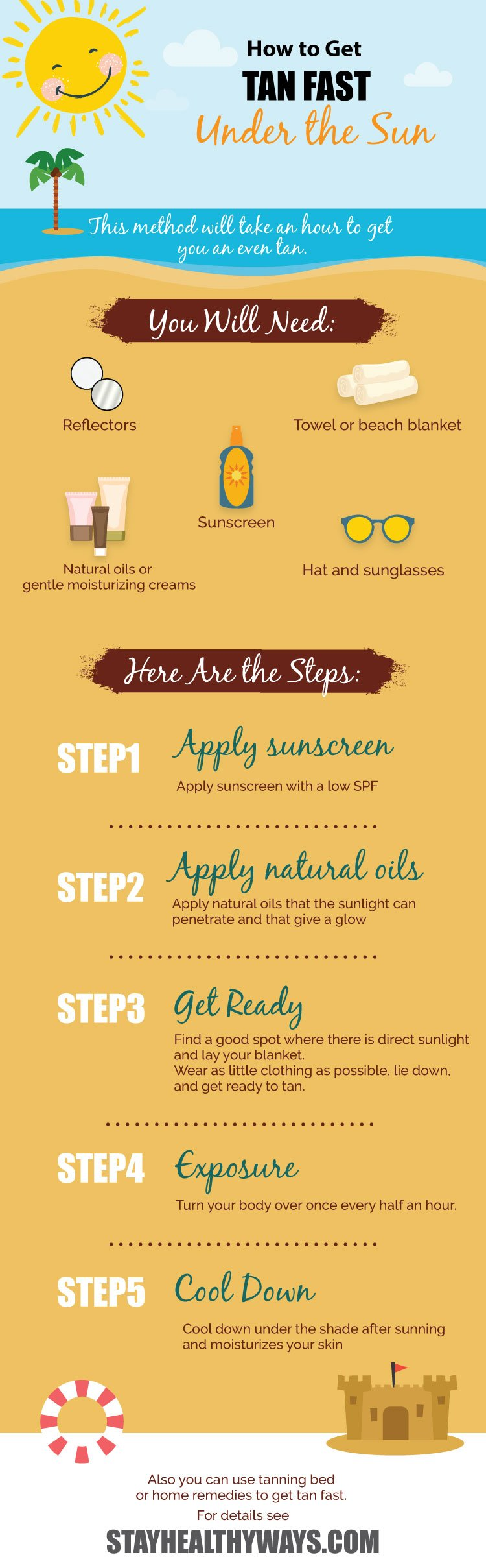 how to get tan fast infographic