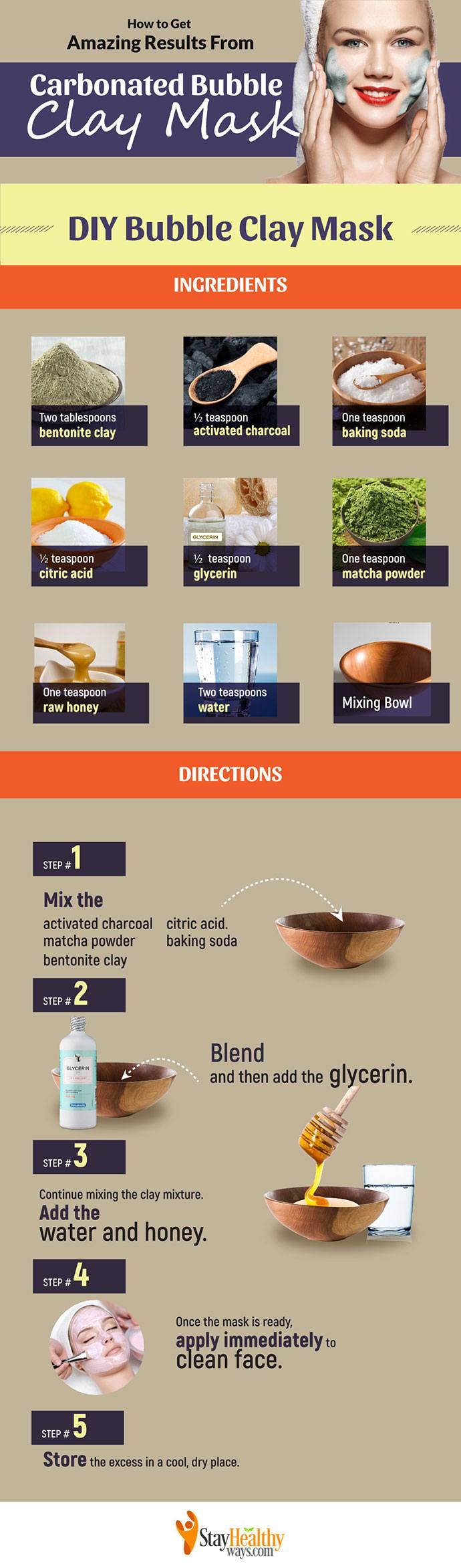 carbonated bubble clay mask infographic